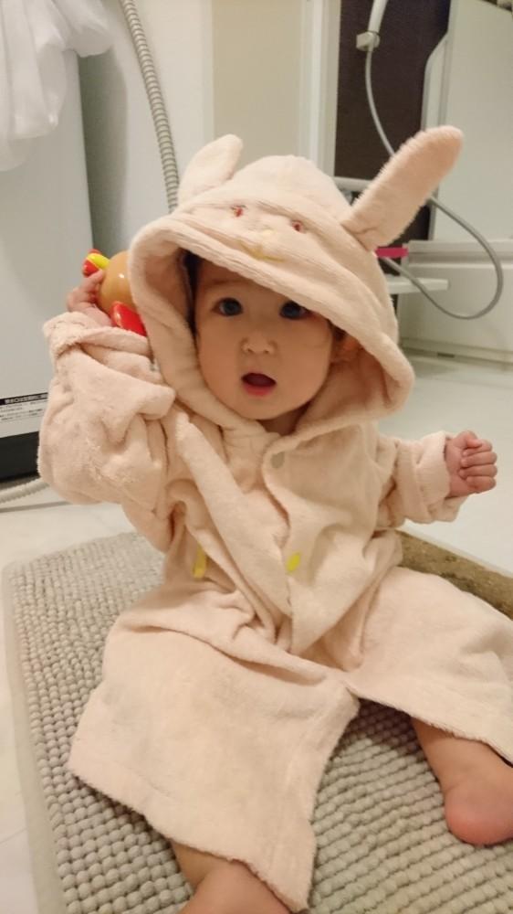 妹には水分をオフして湯冷めしないよう、着替えの前にバスローブを。これが大活躍!