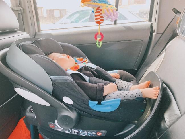 車で熟睡。買い物に行きたいときなどはそのまま寝ていてほしいところ