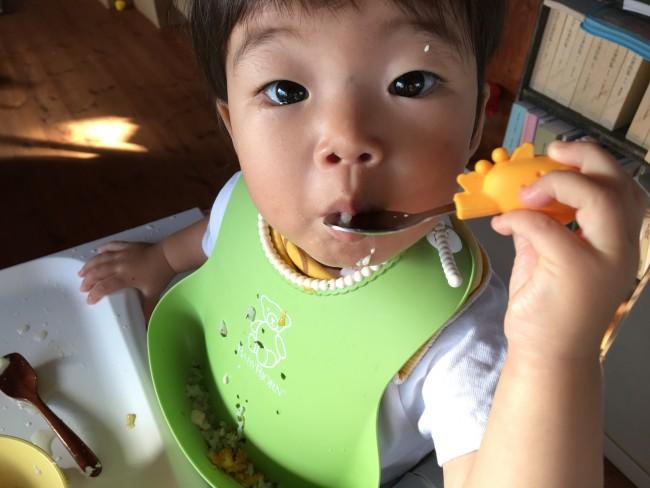 ローラの登場で、自分で食べられる喜びを感じている我が子です