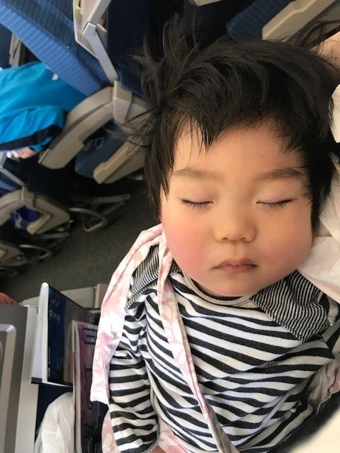 小さい子は耳抜きができないので、離陸時には飲み物を飲んでいると耳がおかしくならないそう。母乳中なので、授乳ケープが大変重宝しました