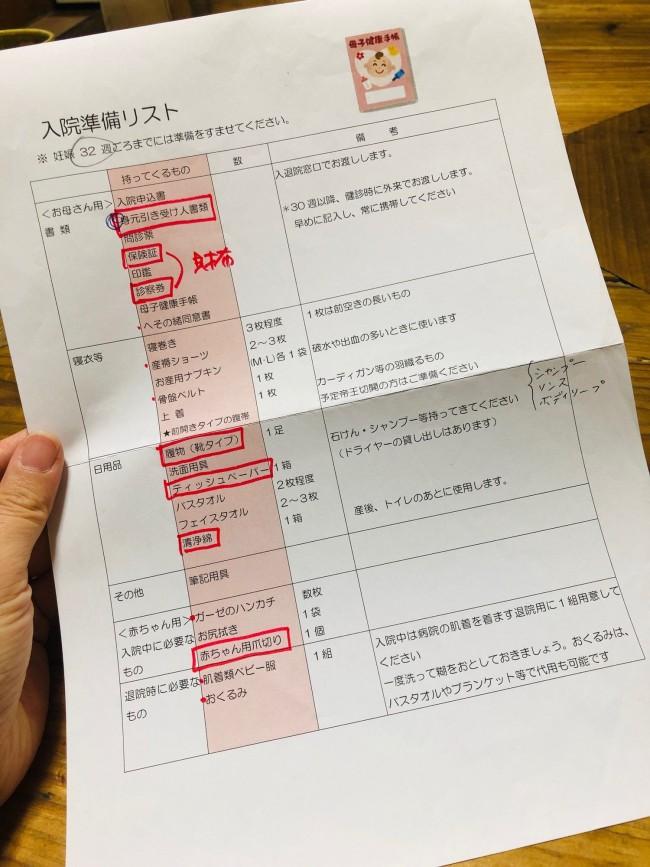 今回、産院からもらった入院準備品リスト。不明な点は入院前に、助産師さんや看護師さんに質問しておきましょう
