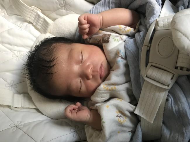 リビングのお昼寝スペースに打ってつけ。入眠率が高いので、疲れ切っている新生児ママとしては大変有難いグッズでした