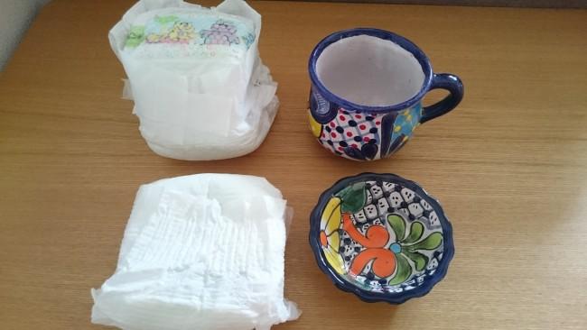 陶器などは余ったオムツでくるむと安心&省スペースに