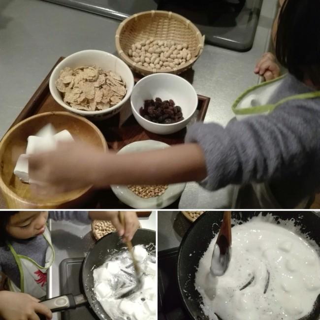 子どもと混ぜ混ぜ、マシュマロを溶かしたら材料を入れていきます