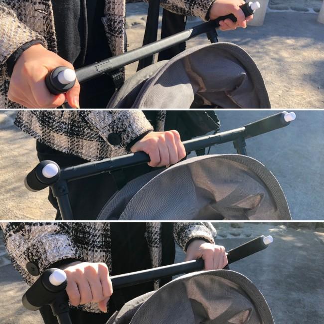 ハンドルはいろいろな持ち方ができます。両手押ししかダメなのかと思ったら、片手押しも◎