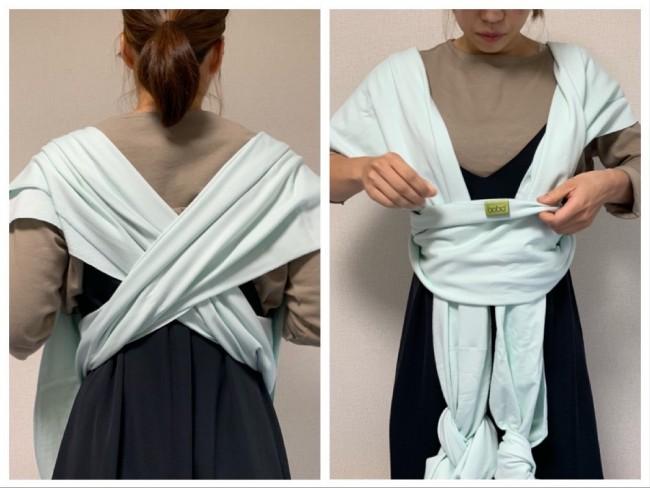 次に、両肩に交差して前に垂らします。布にシワやたるみがないように調節して