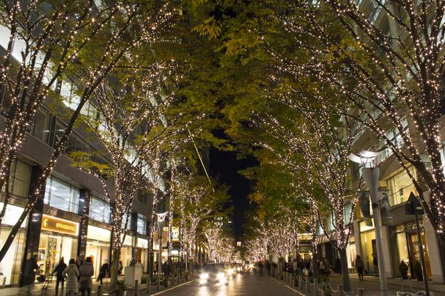 子どもと歩く夜の街は、昼間とまた違った風景です。まるで遠くの国へ来たみたい!