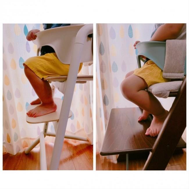 こちらが足置きの違い。広くて安定感のあるトリトラですが、息子はレモチェアの小さな足置きでもしっかり置いていました