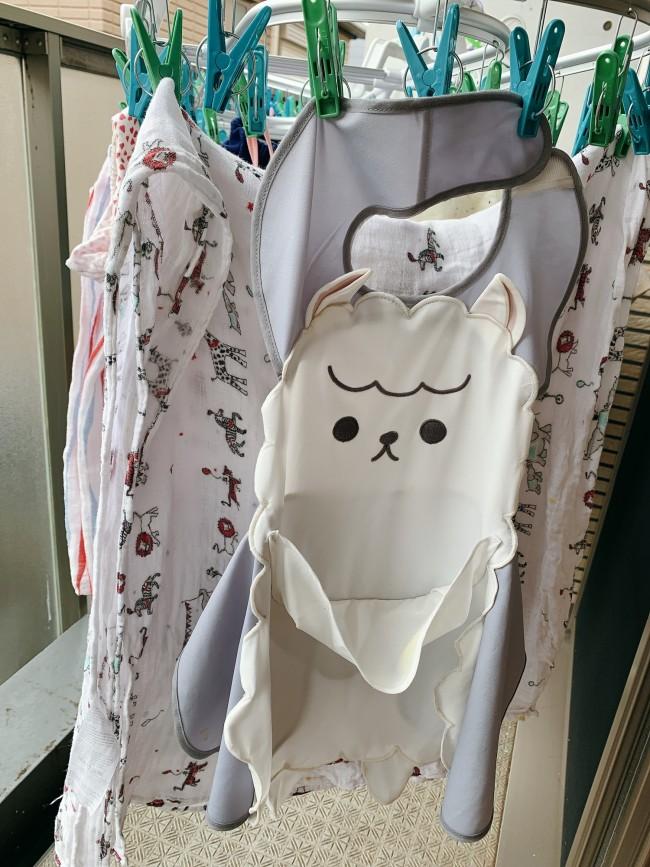 洗濯機で洗う日も。毎日使っているので、洗い替え用にもうひとつちがう動物さんがほしいところ!