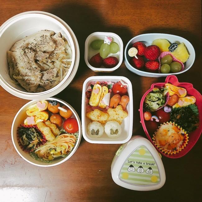 少食の娘のお弁当(写真中央)。何度か練習して、家で食べてみたりピクニックをしたりしてお弁当に慣れてもらいました