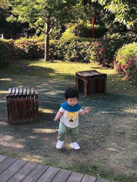 伊勢丹とは違って横長の広場。ベンチやテーブルがあったり、小道があったり歩きはじめの息子は行ったり来たり。近くにスタバがあるのも便利!