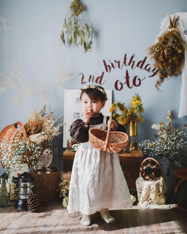 2歳バースデー。色調は1歳のときと変えず、すこし大人っぽい雰囲気に