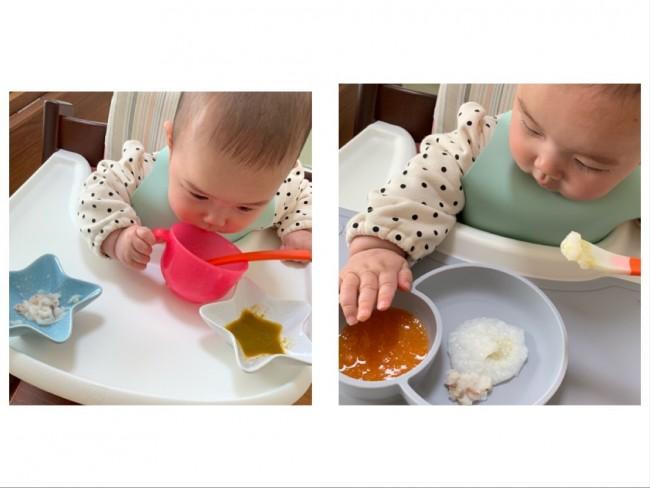 動く食器だと不意な動作でこぼしてしまう娘。食事の後は、トレイごと大掃除でした