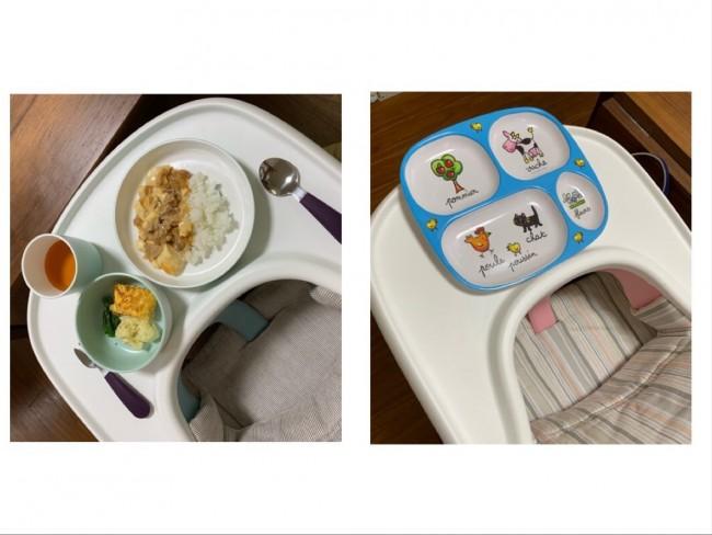 これまではワンプレートご飯が定番(写真右)。そろそろ自分でお皿やお椀を持って食べられるように、マンチシリーズに切り替え