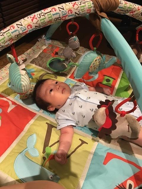 まだ寝返りもできない時期はごろんとしながら目の前にあるおもちゃを眺めたり触ったりすることに夢中に