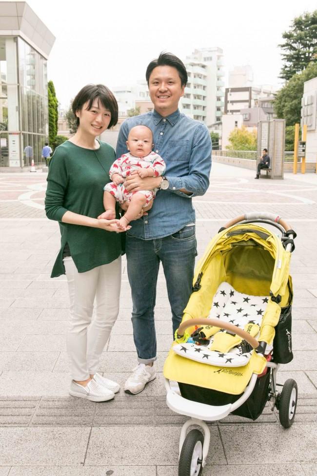 西川ひでおみさん、ひろみさん、えいとくん(3ヶ月半)