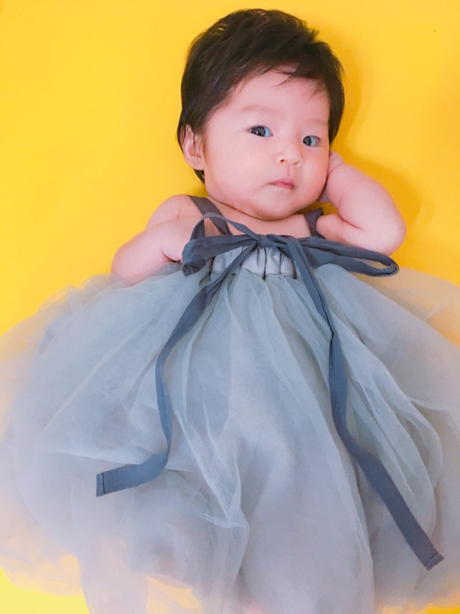 チュチュはベビーのときはワンピースとして、キッズになったらスカートとして使えるアイテム!