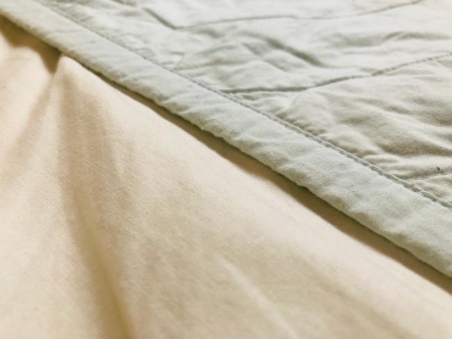 ベッドの上なので、敷くのは薄めのブランケット