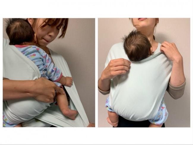 もう片方の布の中にも赤ちゃんを包みこみます
