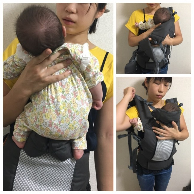 装着は簡単。ほわほわの新生児も安定して乗せられます