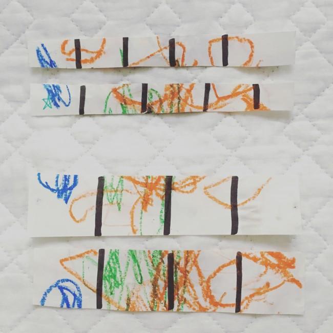 我が家は、前にお絵描きした紙を使って練習!