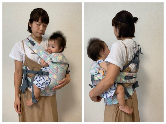 ぜひいろんなママさんたちに試してほしい腰抱き。視界が広がり、グズったときなどにさっと切り替えられます