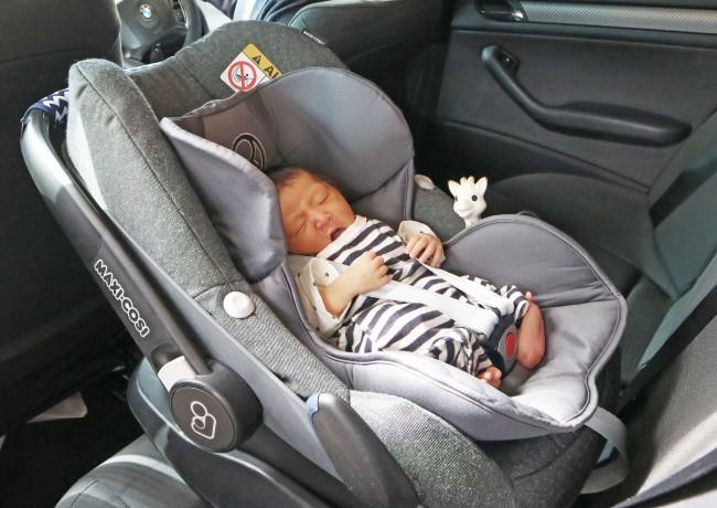 はじめて車に乗せたときも、安心して大あくび
