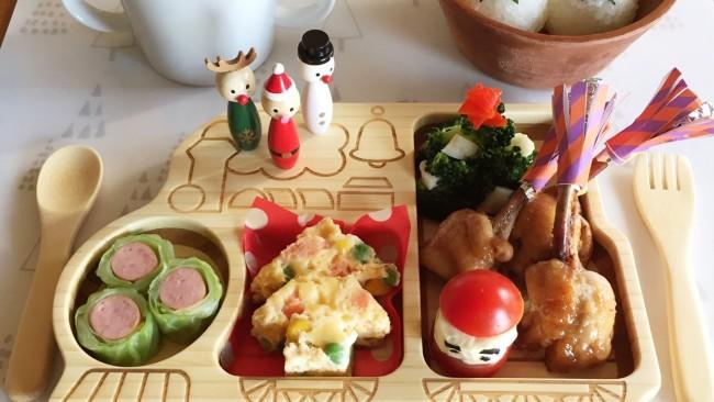 親子で楽しむクリスマスごはん♡  チューリップチキンとツリーとサンタのご馳走プレート!