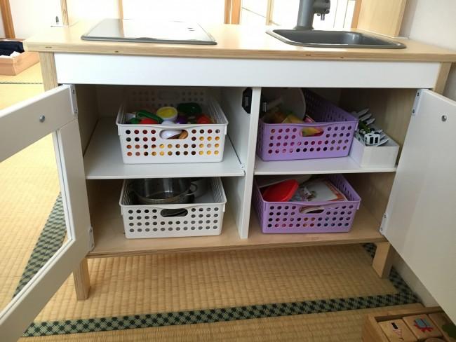自分でお片づけできるように、キッチンまわりの調理器具などもIKEAで調達