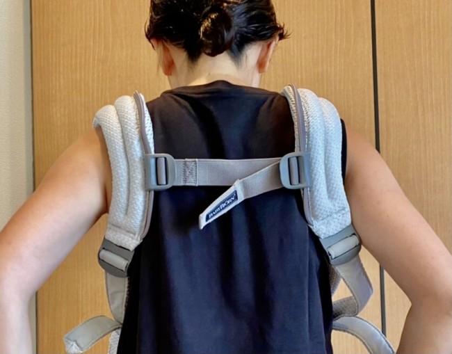 バックストラップが、肩甲骨下の位置あたりにあるか確認!